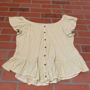 Maurices Green Striped Off The Shoulder Peplum